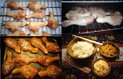 Kallrökta och ugnsstekta kycklingklubbor.